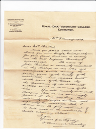 Letter from Charnock Bradley